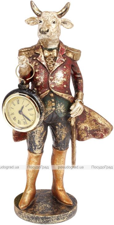 Статуетка декоративна з годинником «Бик в червоному жупані» 12х11х27см