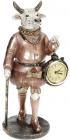 Статуетка декоративна з годинником «Бик з тростиною» 10х11.5х25см, бронза