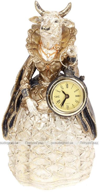 Статуэтка декоративная с часами «Дама Корова» в синей накидке 12.5х11.5х24см