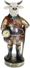 Фигурка декоративная с часами «Бык» 18х15.5х41см, синий с золотом