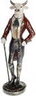 Фігура декоративна «Бик-Щиголь з тростиною» 15х14х47см, синій з бордо
