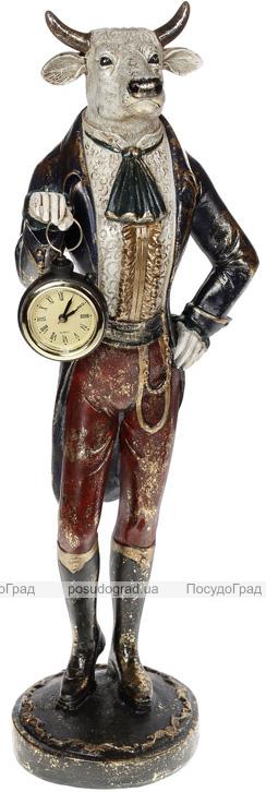 Фігура декоративна з годинником «Бик-Щиголь» 15х14х47см, синій з бордо