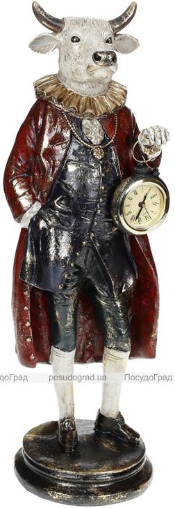 Фігура декоративна з годинником «Бик в пальто» 13.5х13х41см, синій з бордо