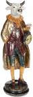 Фігура декоративна з годинником «Бик в пальто» 13.5х13х41см, бордо з золотом