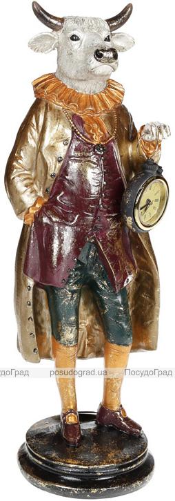 Фигура декоративная с часами «Бык в пальто» 13.5х13х41см, бордо с золотом