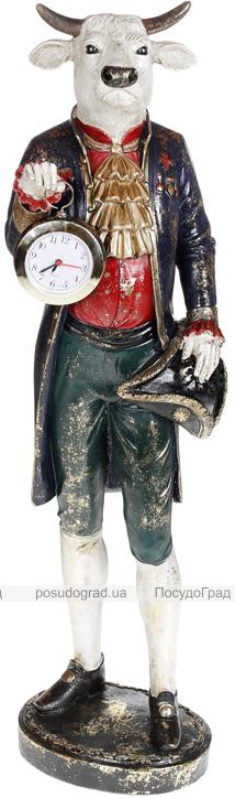 Фігура декоративна з годинником «Бик в пальто» 17х17х64см, синій з бордо