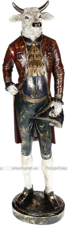 Фігура декоративна «Бик в пальто» 22х16.5х78см, бордо з синім