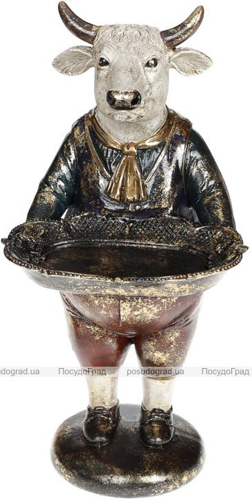 Статуетка декоративна «Бик з підносом» в червоному жилеті 16х14х30см