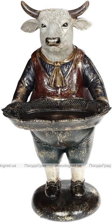 Статуетка декоративна «Бик з підносом» в синьому жилеті 16х14х30см
