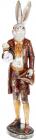 Фігура декоративна з годинником «Білий Кролик в пальто» 19.5х16х74.5см, бордо із золотом