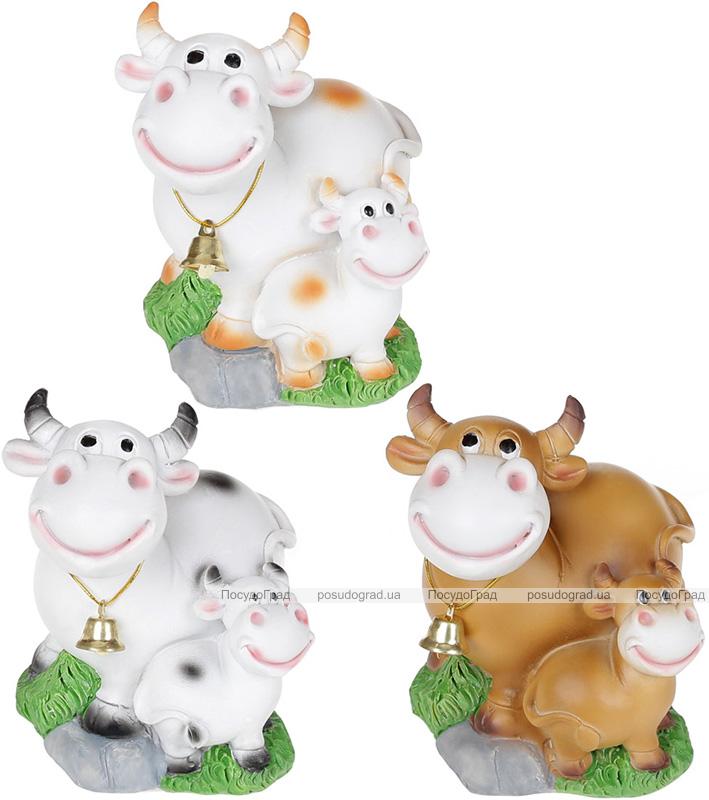 Копилка «Коровка с теленком» 7.7х7.6х9.2см, полистоун