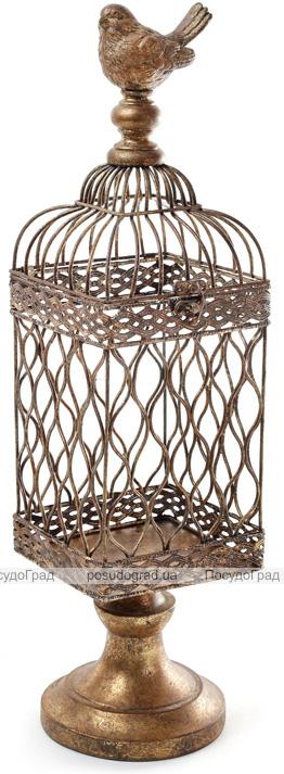 """Декоративний підсвічник """"Птаха на клітці"""" 12.5х12.5х47см, бронза"""