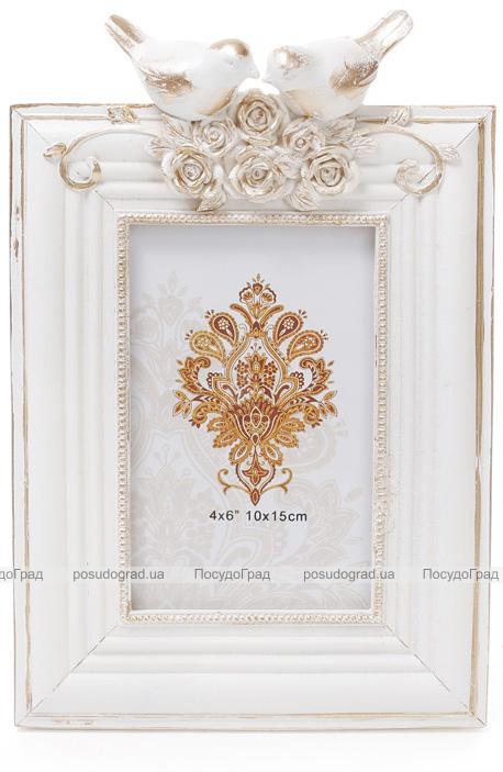 """Фоторамка Tudor """"Синички"""" для фото 10х15см (белый с золотом)"""