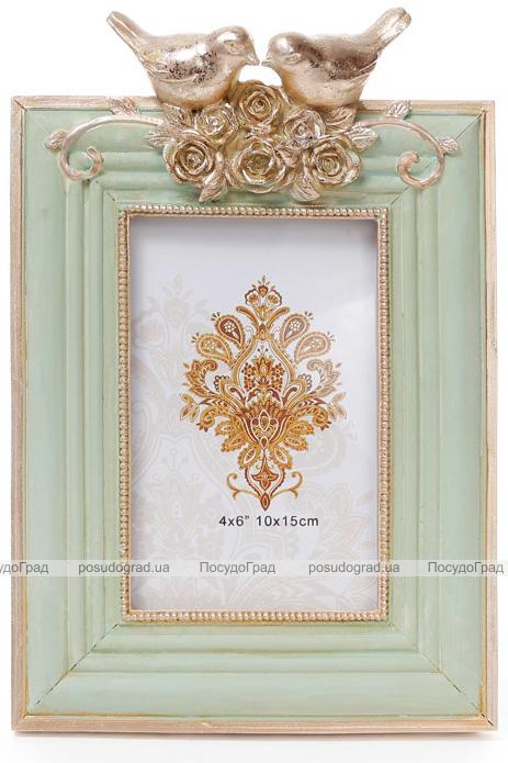 """Фоторамка Tudor """"Синички"""" для фото 10х15см (мятный с золотом)"""