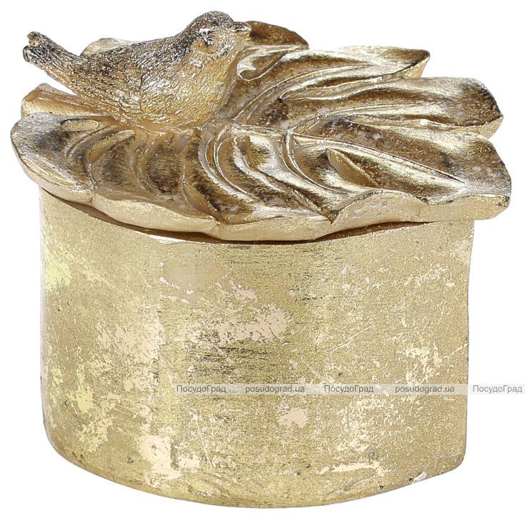 """Шкатулка для прикрас """"Монстера з пташкою"""" 12х10.5х10см, золото"""
