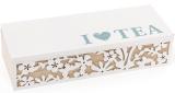 """Коробка-шкатулка """"I Love Tea"""" для чая и сахара 3-х секционная 24x9x6см"""