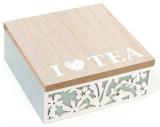 """Коробка-шкатулка """"I Love Tea"""" для чаю та цукру 4-х секційна 15x18x6.5см"""