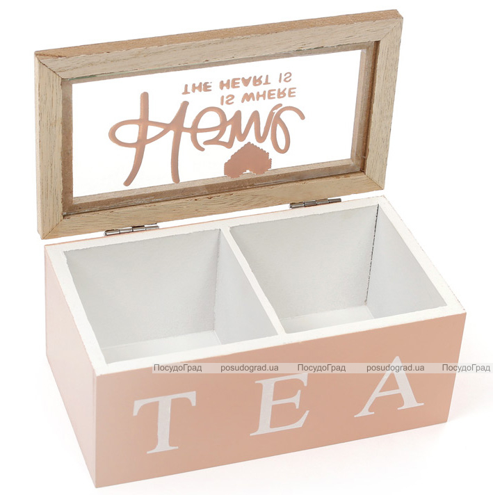 """Коробка-шкатулка """"I Love Tea"""" для чая и сахара 2-х секционная 16x9x7см"""