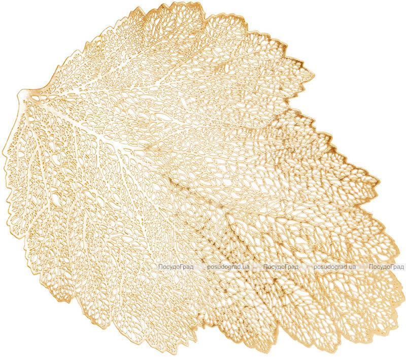 Набір 6 сервірувальних килимків Margrese Ажурний лист 36х47см (підтарільники), золото