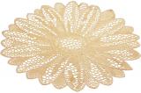 Набор 6 сервировочных ковриков Margrese Ажурный цветокØ38см (подтарельники), золото