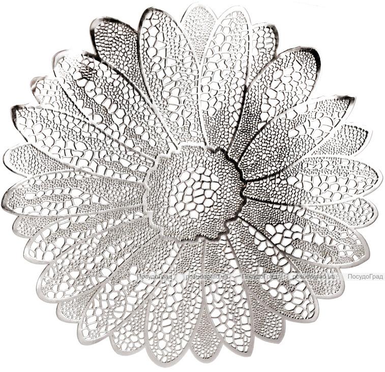 Набір 6 сервірувальних килимків Margrese Ажурна квітка Ø38см (підтарільники), срібло