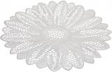Набор 6 сервировочных ковриков Margrese Ажурный цветок Ø38см (подтарельники), серебро