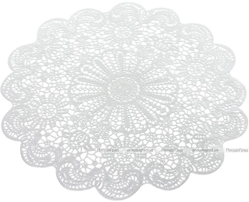 Набір 6 сервірувальних килимків Margrese Мереживо Ø38см (підтарільники), срібло
