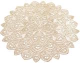 Набір 6 сервірувальних килимків Margrese Хризантема Ø38см (підтарільники), золото
