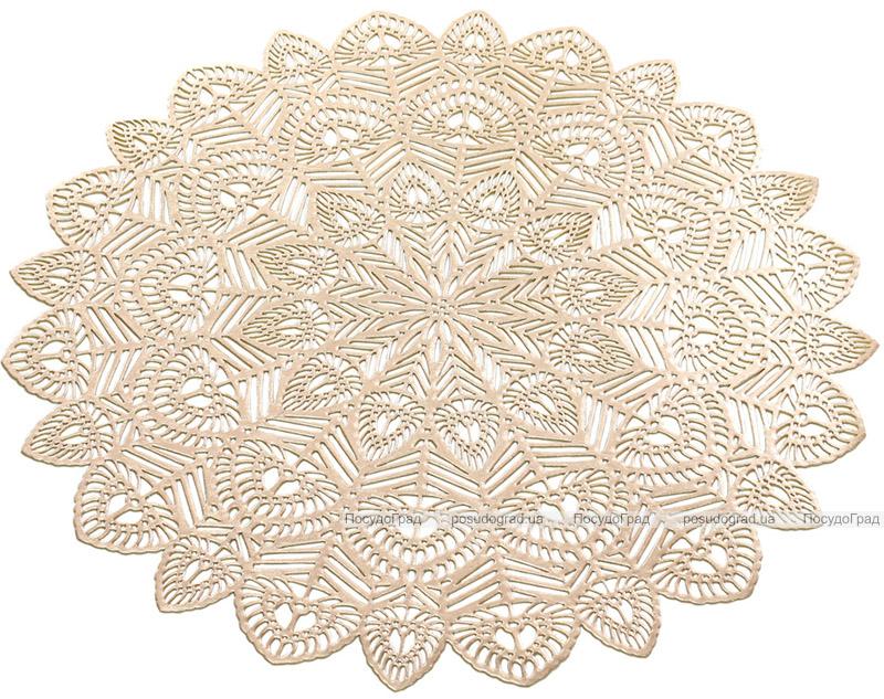 Набор 6 сервировочных ковриков Margrese Хризантема Ø38см (подтарельники), золото