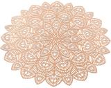 Набір 6 сервірувальних килимків Margrese Хризантема Ø38см (підтарільники), рожеве золото