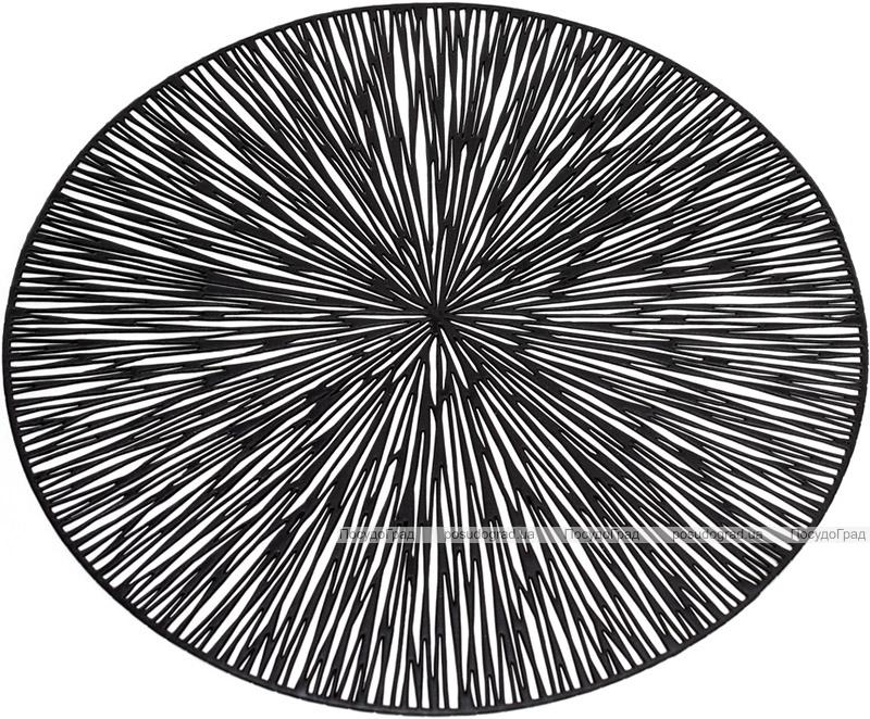 """Набор 6 сервировочных ковриков """"Margrese Лучи"""" 38см, черный (подтарельники)"""