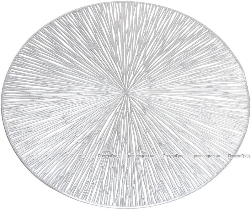 """Набор 6 сервировочных ковриков """"Margrese Лучи"""" 38см, серебро (подтарельники)"""
