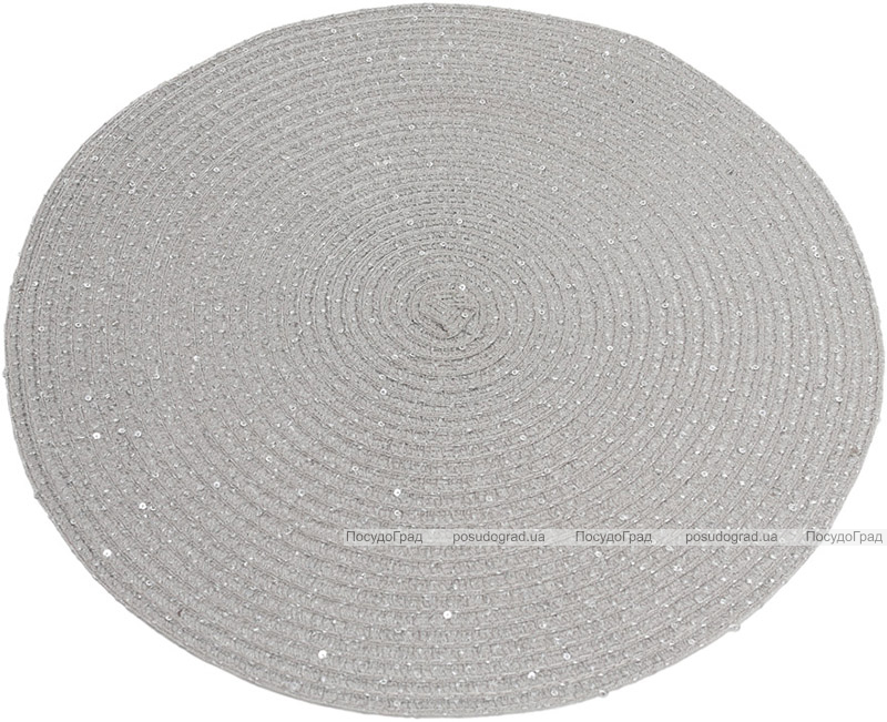 """Набір 6 сервірувальних килимків """"Margrese Сircle"""" 38см, сірий з паєтками (підтарільники)"""