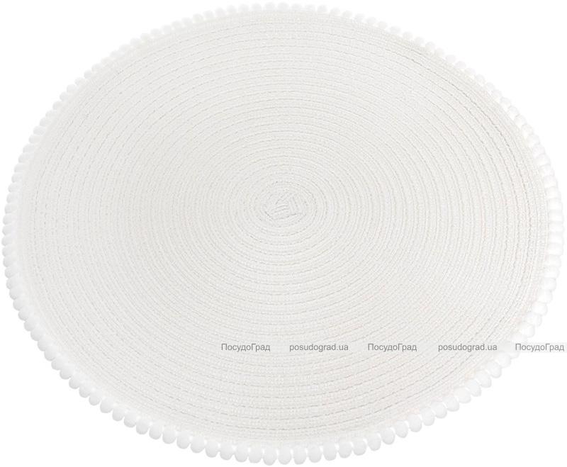"""Набор 6 сервировочных ковриков """"Margrese Сircle"""" 38см, белый с ободком из помпонов (подтарельники)"""