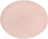 """Набір 6 сервірувальних килимків """"Margrese Сircle"""" 38см, рожева пудра з обідком з помпонами (підтарільники)"""