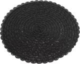 """Набір 6 сервірувальних килимків """"Margrese В'язана серветка"""" 38см, чорний (підтарільники)"""