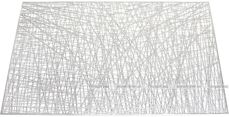 """Набір 6 сервірувальних прямокутних килимків """"Margrese Модерн"""" 45см, срібло (підтарільники)"""