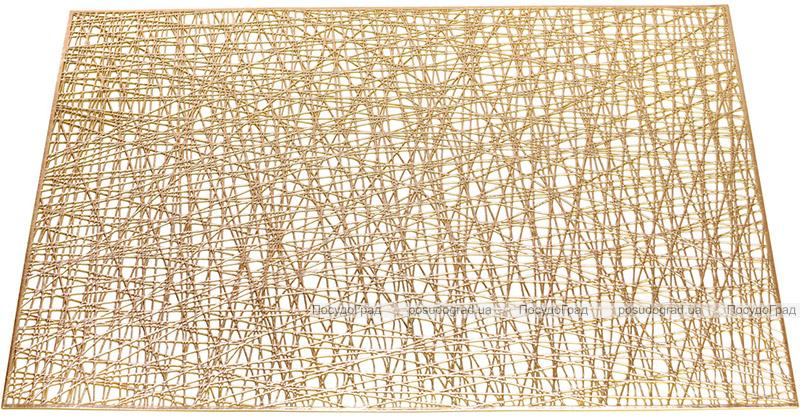 """Набор 6 сервировочных прямоугольных ковриков """"Margrese Модерн"""" 45см, золото (подтарельники)"""