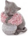 """Статуетка декоративна """"Котик з рожевими квітами"""" 18см, полістоун"""