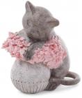 """Статуетка декоративна """"Котик з рожевими квітами"""" 12см, полістоун"""