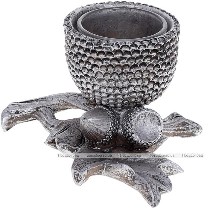 """Підсвічник декоративний """"Giorgi Жолудь"""" зі скляною колбою 12х9.5х7см, срібло"""