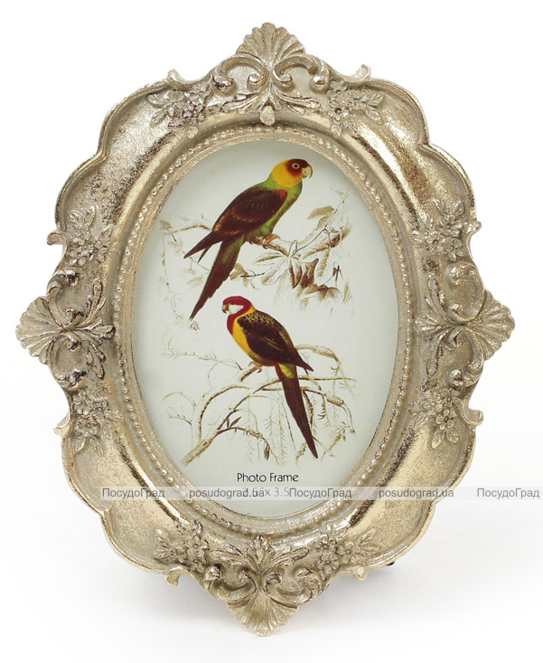 """Фоторамка Tudor """"Орнамент"""" овальная, фото 6.4х9см (цвета состаренного золота)"""