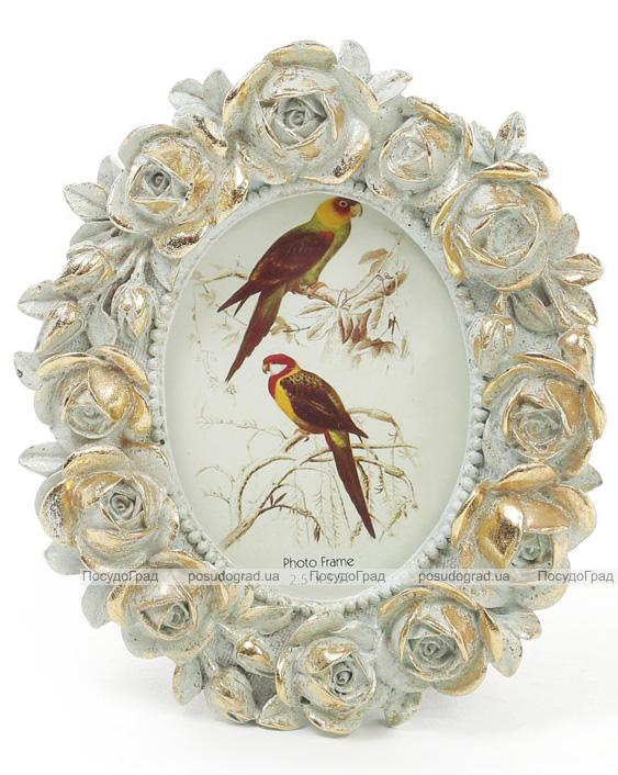 """Фоторамка Tudor """"Розы"""" овальная, фото 6.4х9см (мята с золотом)"""