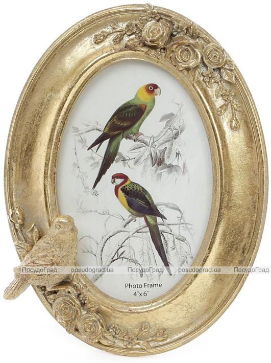 """Фоторамка Tudor """"Птицы"""" овальная, фото 10х15см (цвета состаренного золота)"""