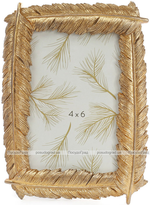 """Фоторамка """"Золотые перья"""" для фото 10х15см, состаренное золото"""