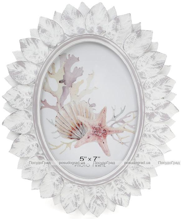 """Фоторамка Tudor """"Белый Антик"""" овальная, фото 13х18см (состаренный белый)"""