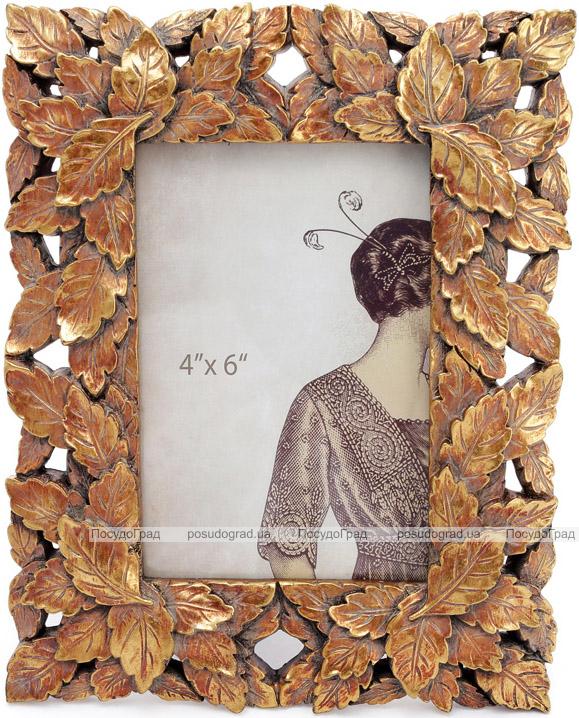 """Фоторамка """"Золотые листочки"""" для фото 10х15см, золотая патина"""