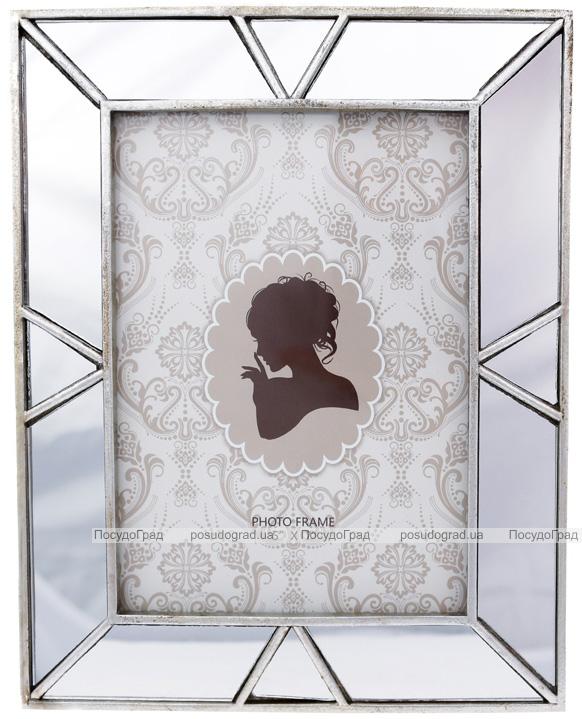 """Фоторамка """"Mirror"""" для фото 13х18см полистоун, с зеркальными вставками"""