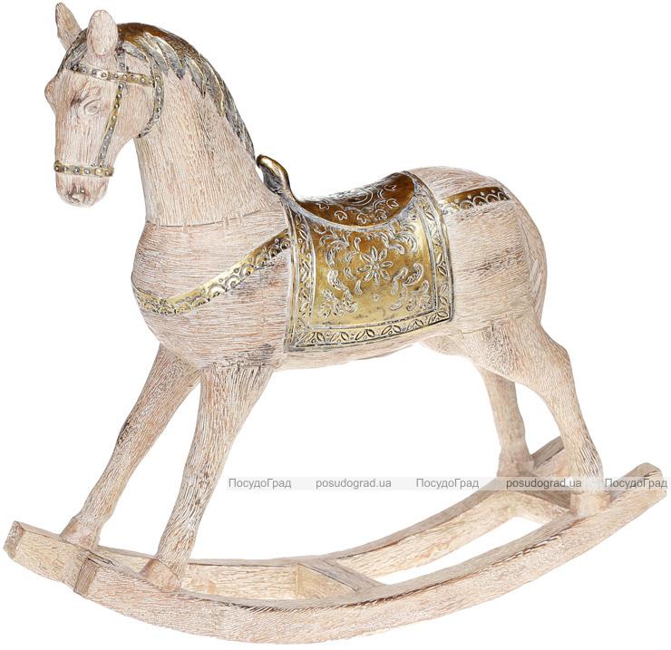 """Статуетка декоративна """"Конячка-качалка"""" 33.5х9х30см, дерев'яний з золотом"""