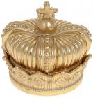 "Шкатулка декоративна ""Adeola Корона"" 11.5х11.5х11см, полистоун, колір - золото"